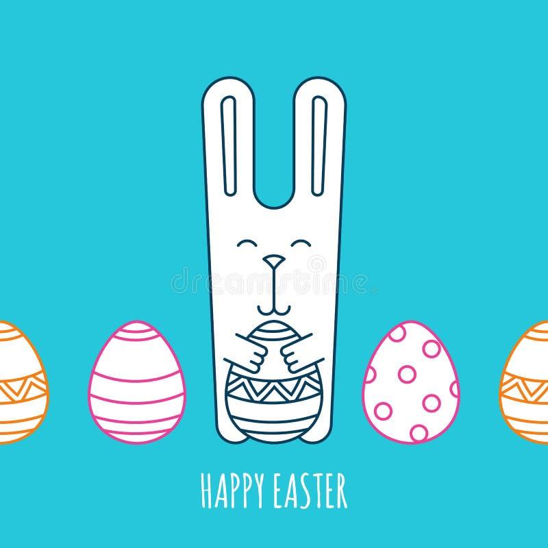 无缝的水平的背景用滑稽的兔子和复活节彩蛋 库存例证