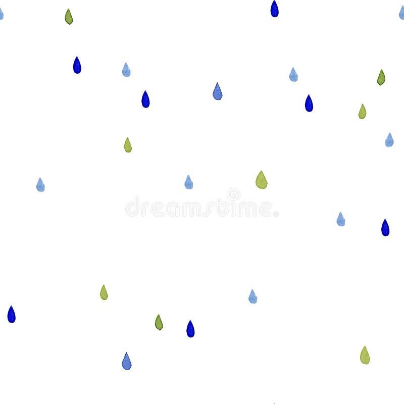 无缝的水彩样式 颜色在白色背景的雨下落 向量例证
