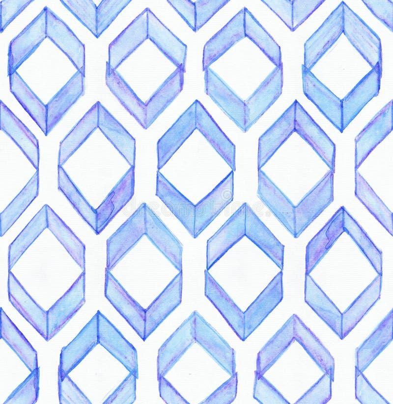无缝的水彩纹理,根据在一个几何重复的设计的蓝色手拉的不完美的菱形 向量例证