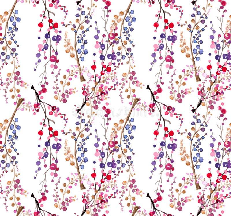 无缝的水彩花卉背景 向量例证