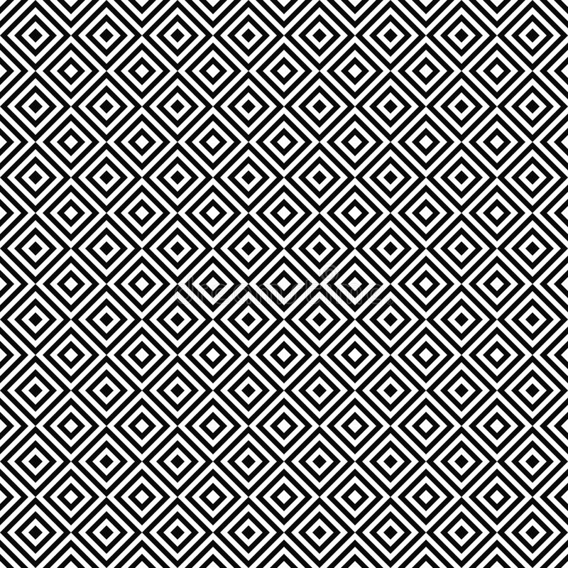 无缝的黑白抽象方形的样式 皇族释放例证