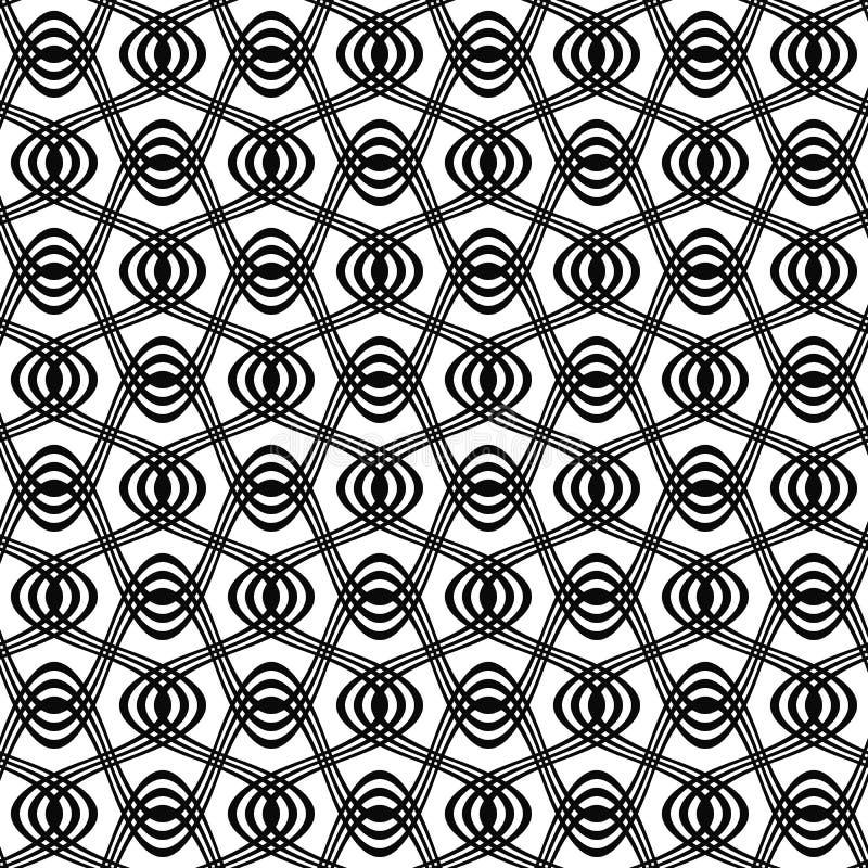 无缝的黑白漩涡样式 皇族释放例证