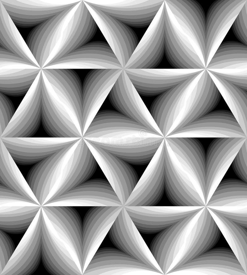 无缝的黑白照片弯曲了轻轻地淡光从光的三角样式到黑暗 视觉容量作用 库存例证