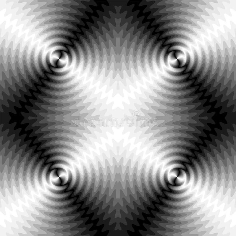 无缝的黑白照片扩展波浪在中心相交 光学容量作用 运动视觉幻觉  库存例证