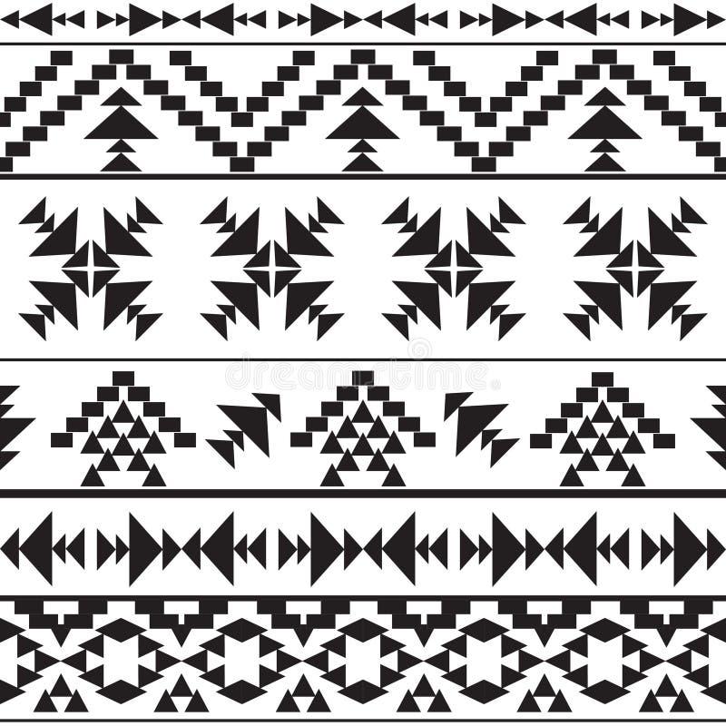 无缝的黑白阿兹台克样式 皇族释放例证
