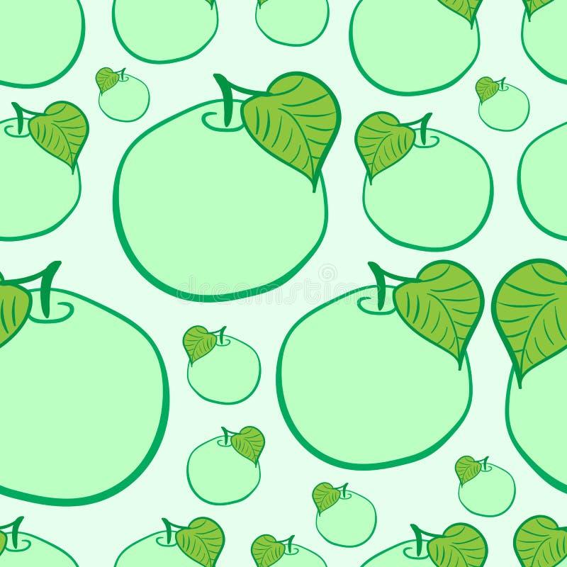 无缝的绿色苹果 库存例证