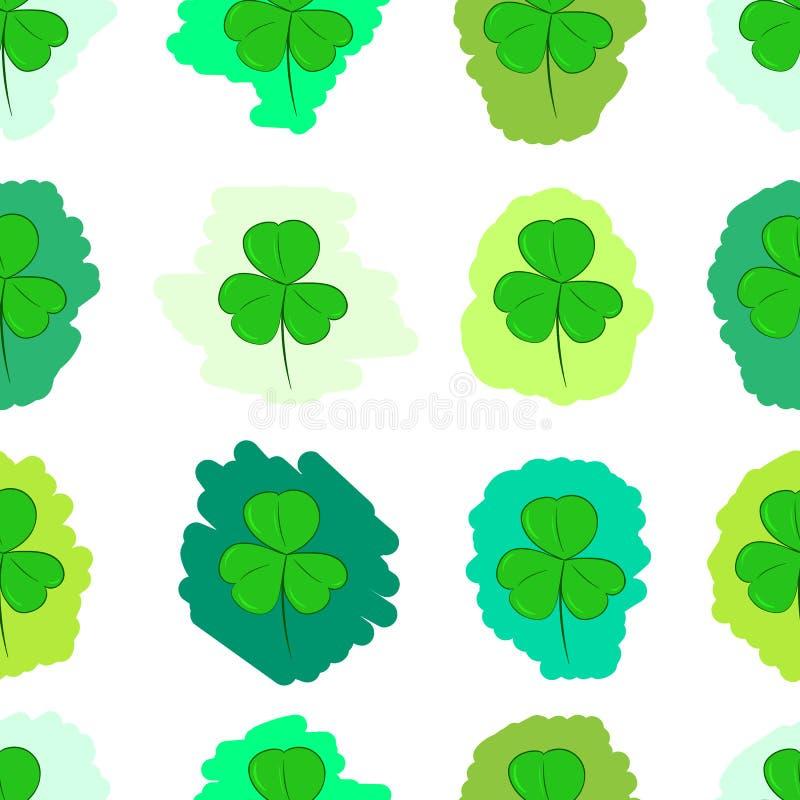 无缝的绿色被绘的三叶草 库存例证