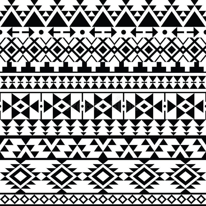 无缝的黑那瓦伙族人印刷品,阿兹台克样式,部族设计 向量例证