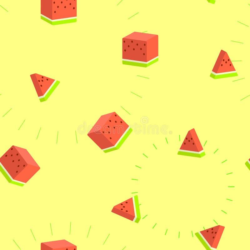 无缝的3d正方形西瓜热带水果重复样式在黄色背景中 向量例证