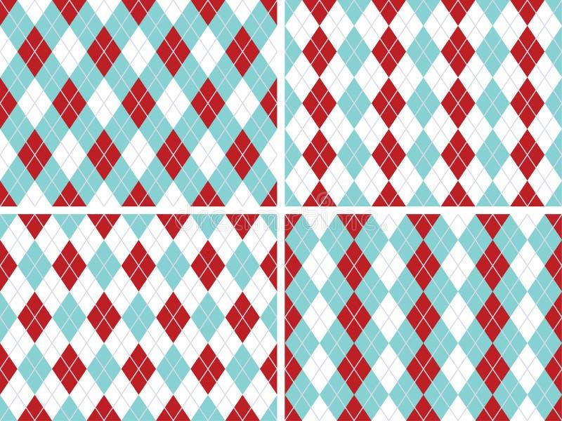 无缝的Argyle仿造水色蓝色,红色与固定的银色线路 皇族释放例证