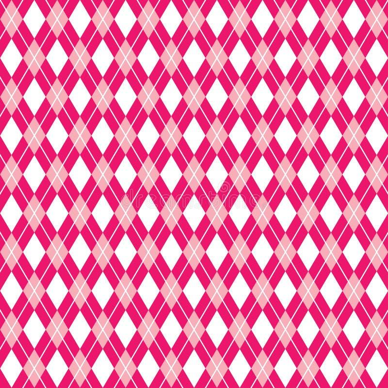 无缝的argyle桃红色背景, argyle样式,传染媒介例证 向量例证