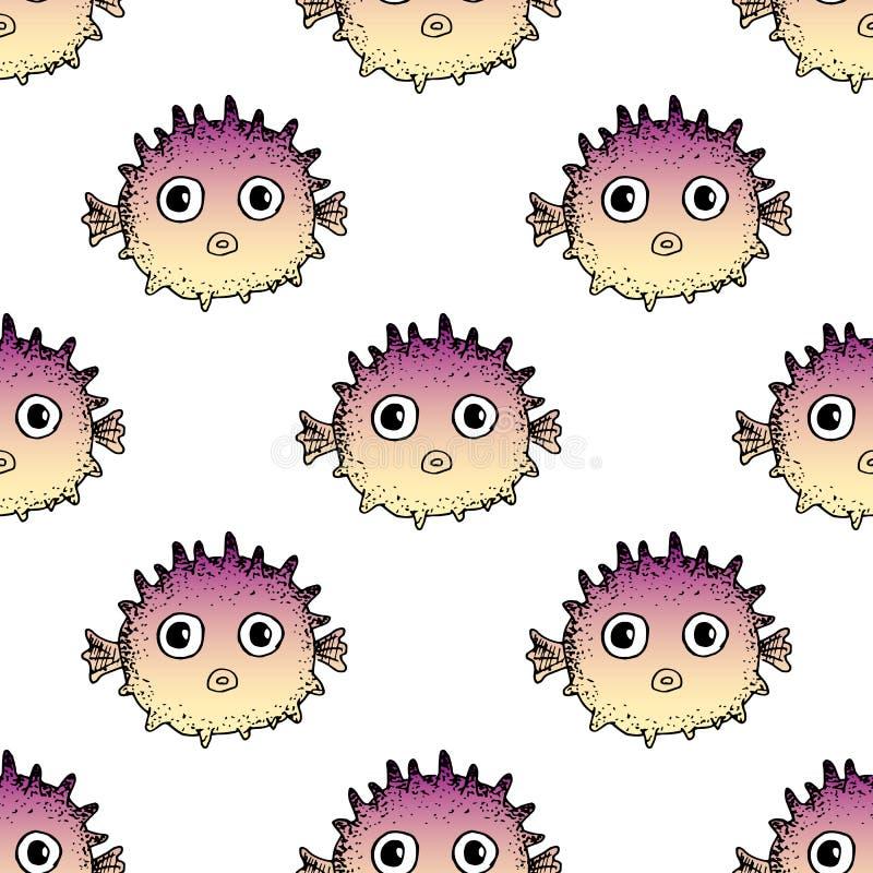 无缝的fugu鱼样式 逗人喜爱的动画片河豚 向量手拉的例证 织品的,盖子,背景印刷品 图库摄影