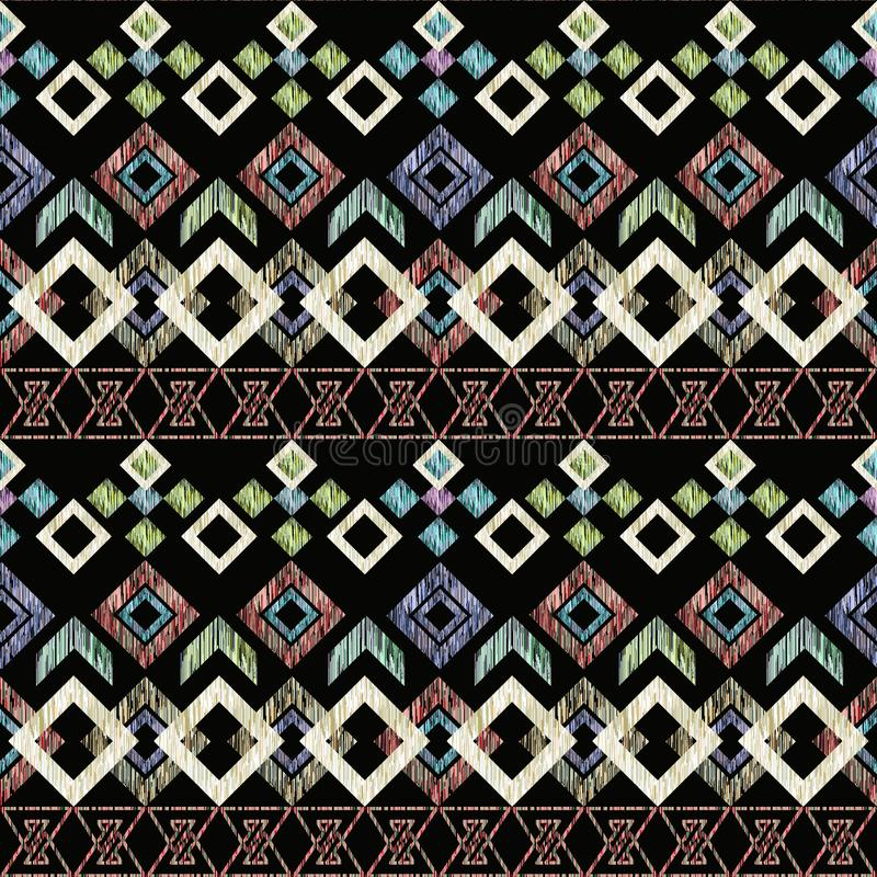 无缝的ikat种族样式 纺织品设计的抽象背景,墙纸,表面纹理 向量例证