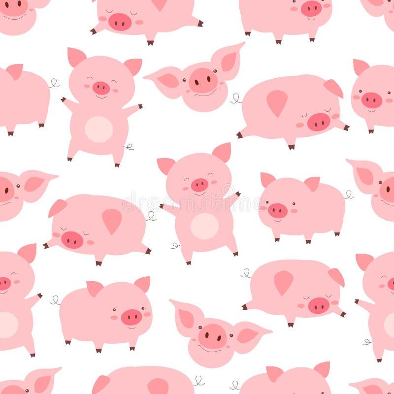 无缝的kawaii样式快乐的矮小的逗人喜爱的猪,用不同的姿势,在白色背景中 滑稽的动画片动物传染媒介 向量例证