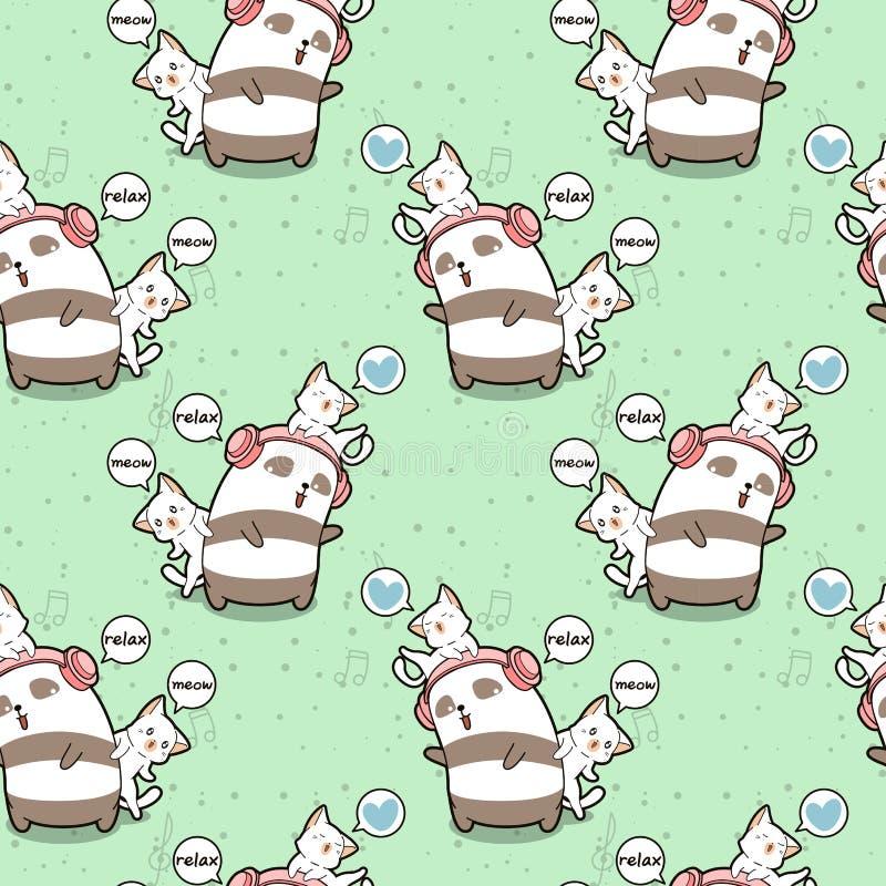 无缝的kawaii熊猫和猫放松样式 库存例证