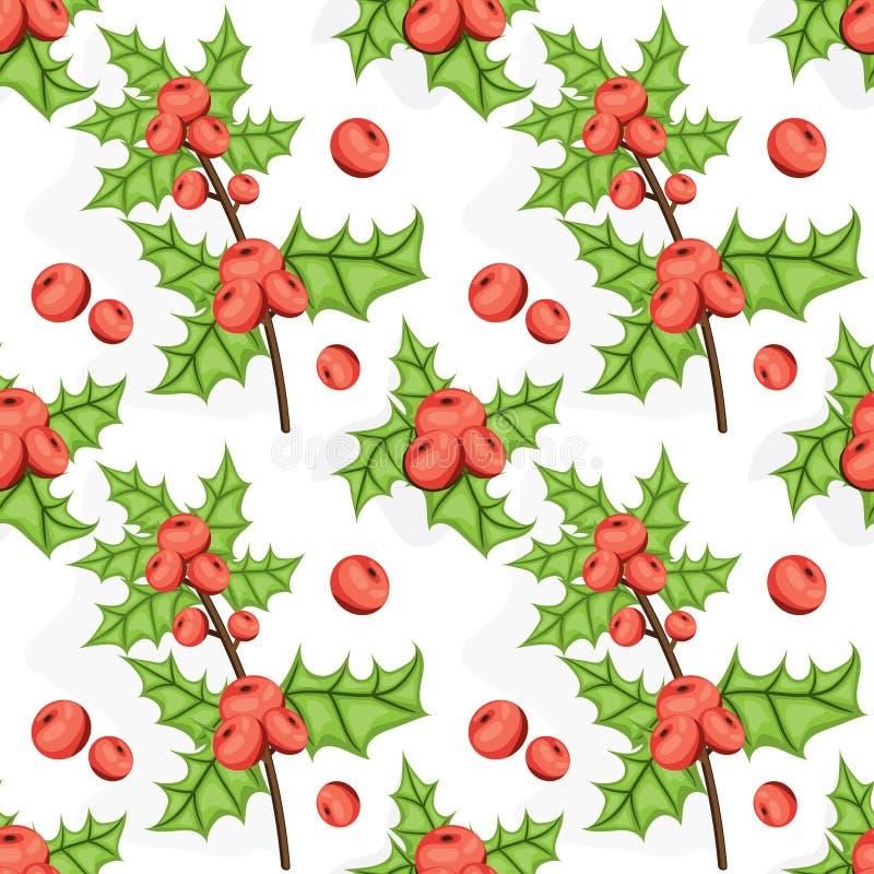 无缝的Noel样式用霍莉莓果 瓦片圣诞节背景 被说明的传染媒介重复纹理 假日包装纸 向量例证