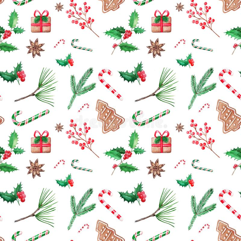 无缝的patern圣诞节例证,手拉的水彩 d 库存例证