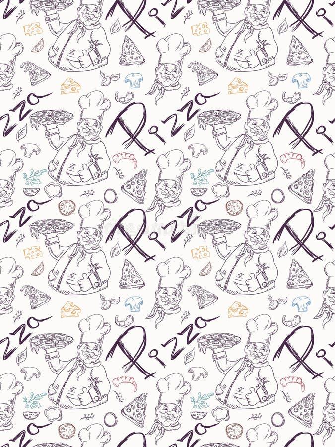 无缝的pattern_3_illustration,等高图画在意大利比萨烹调题材,装饰和设计乱画样式的 库存例证