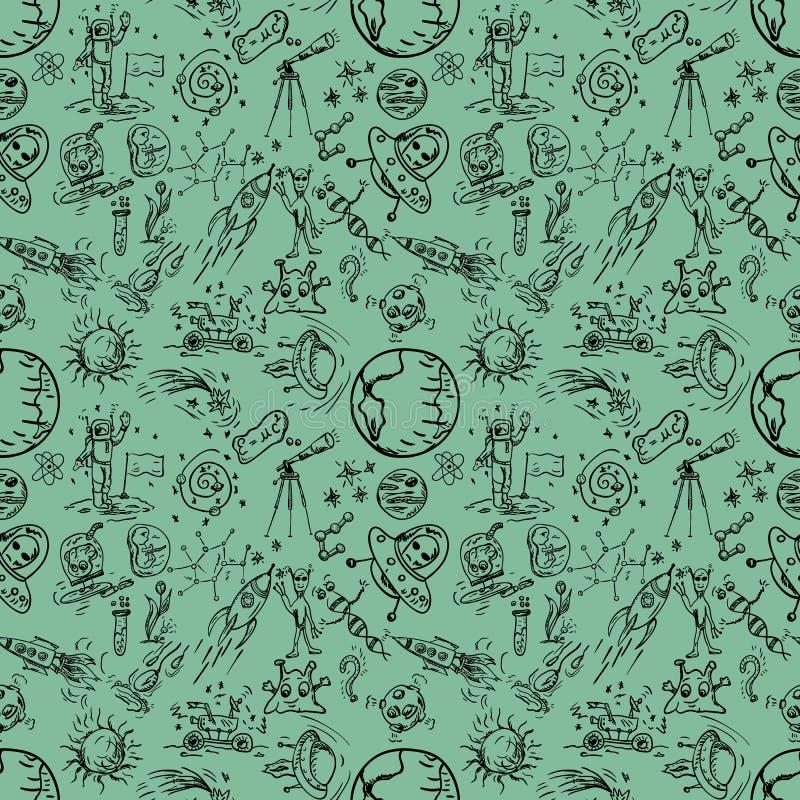 无缝的pattern_4_of儿童的在空间题材的等高图画 向量例证