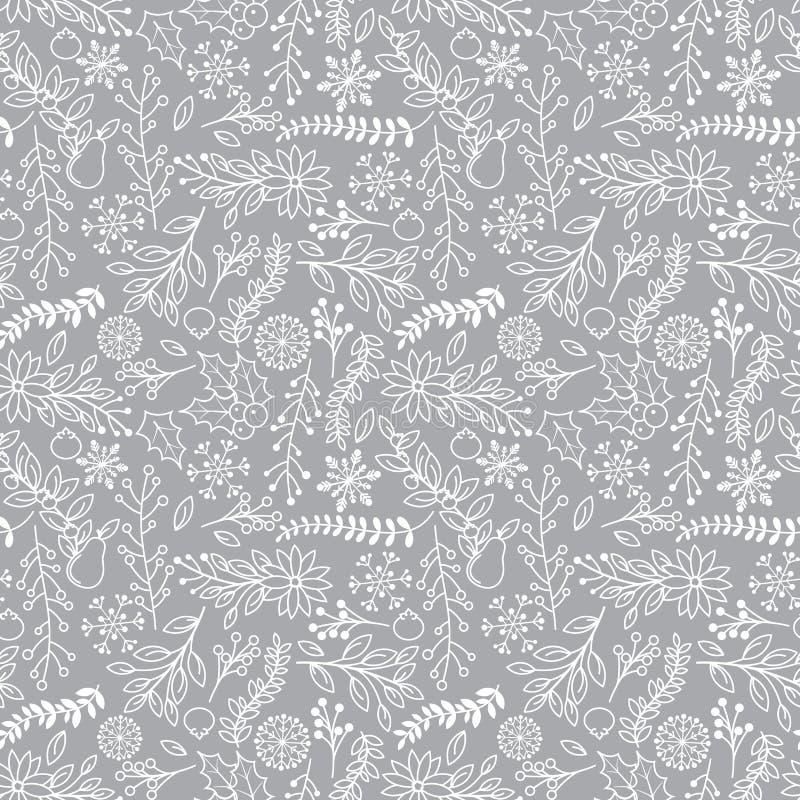 无缝的Tileable圣诞节假日花卉背景样式 皇族释放例证