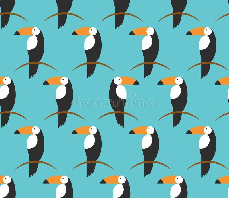 无缝的toucans样式 背景热带向量 Toucan象, toucan传染媒介象动画片例证网的,平的样式 向量例证