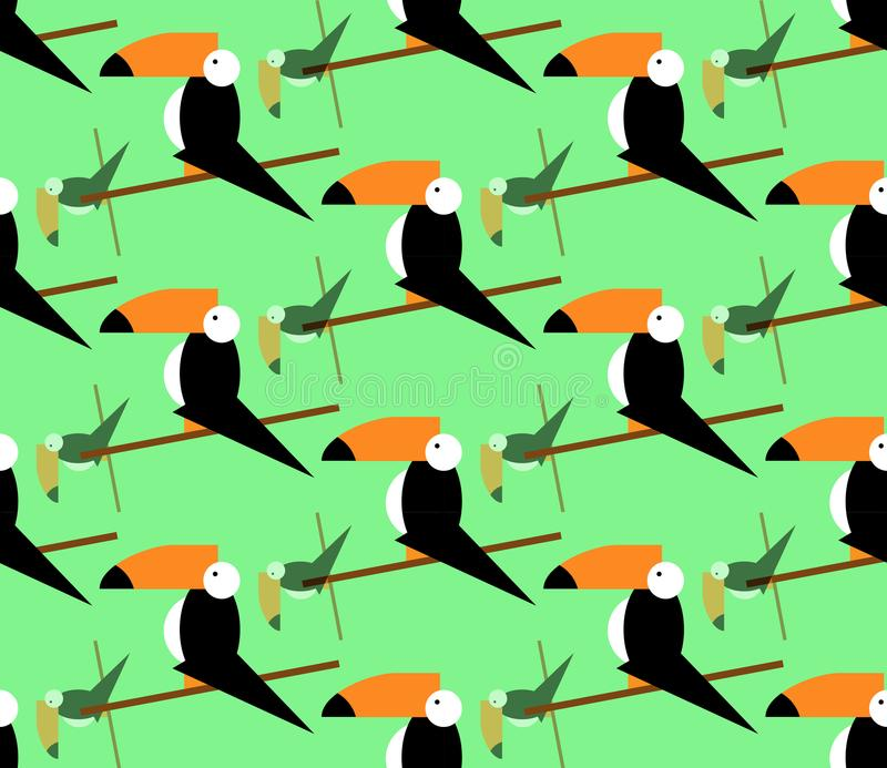 无缝的toucans样式 背景热带向量 Toucan象, toucan传染媒介象动画片例证网的,平的样式 库存例证
