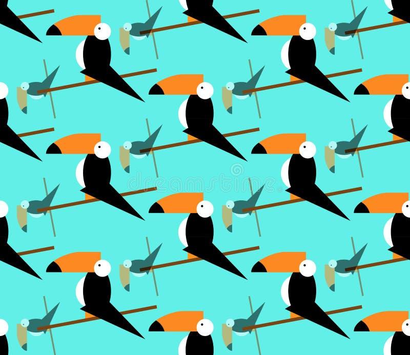 无缝的toucans样式 背景热带向量 Toucan象, toucan传染媒介象动画片例证网的,平的样式 皇族释放例证