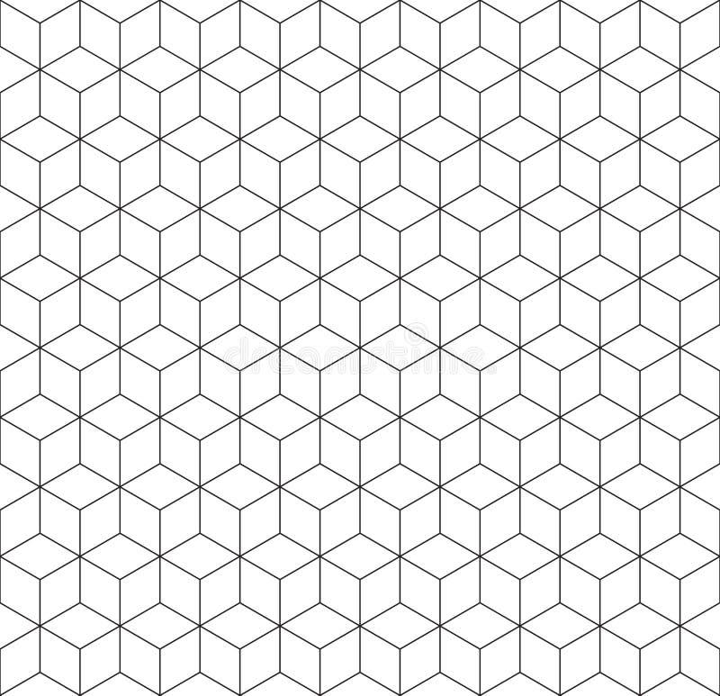 无缝的wireframe立方体抽象几何等量样式背景纹理 向量例证