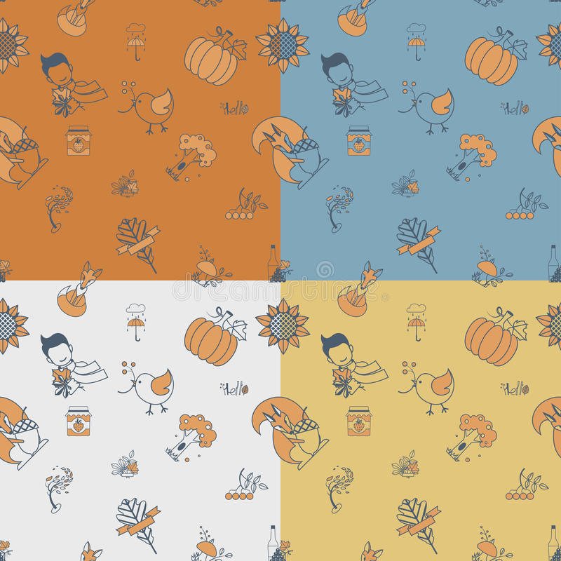 Download 无缝秋天的模式 向量例证. 插画 包括有 堵塞, 南瓜, 双翼飞机, 设计, 栗子, 狐狸, 秋天, 叶子 - 59108125