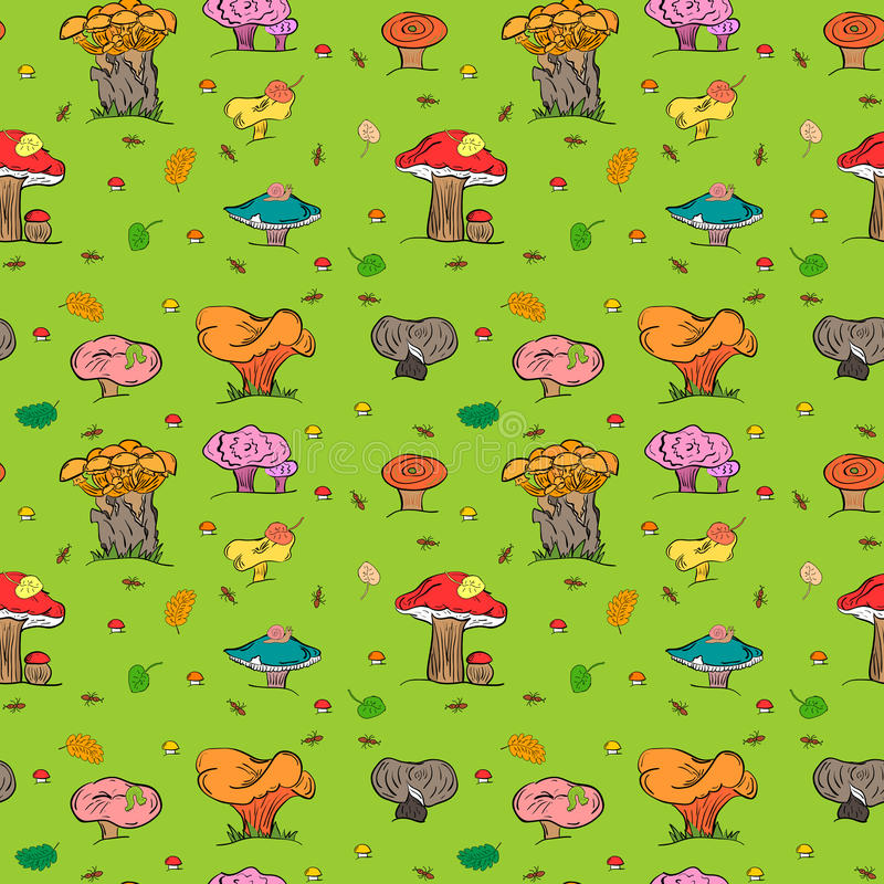 无缝秋天的背景 五颜六色的手拉的逗人喜爱的蘑菇、毛虫、蜗牛、蚂蚁和落的叶子 向量例证