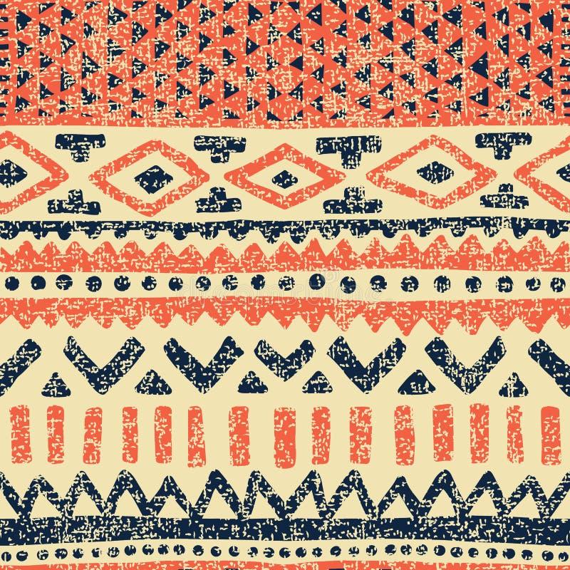 无缝种族的模式 地毯的葡萄酒印刷品 难看的东西老te 向量例证