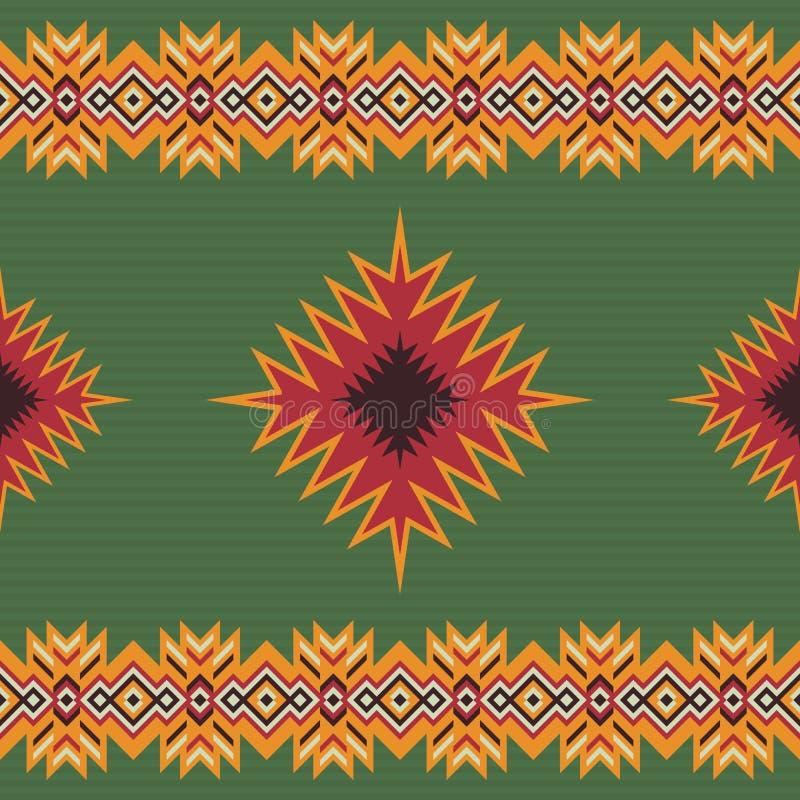 无缝种族的模式 阿兹台克部族艺术印刷品 皇族释放例证