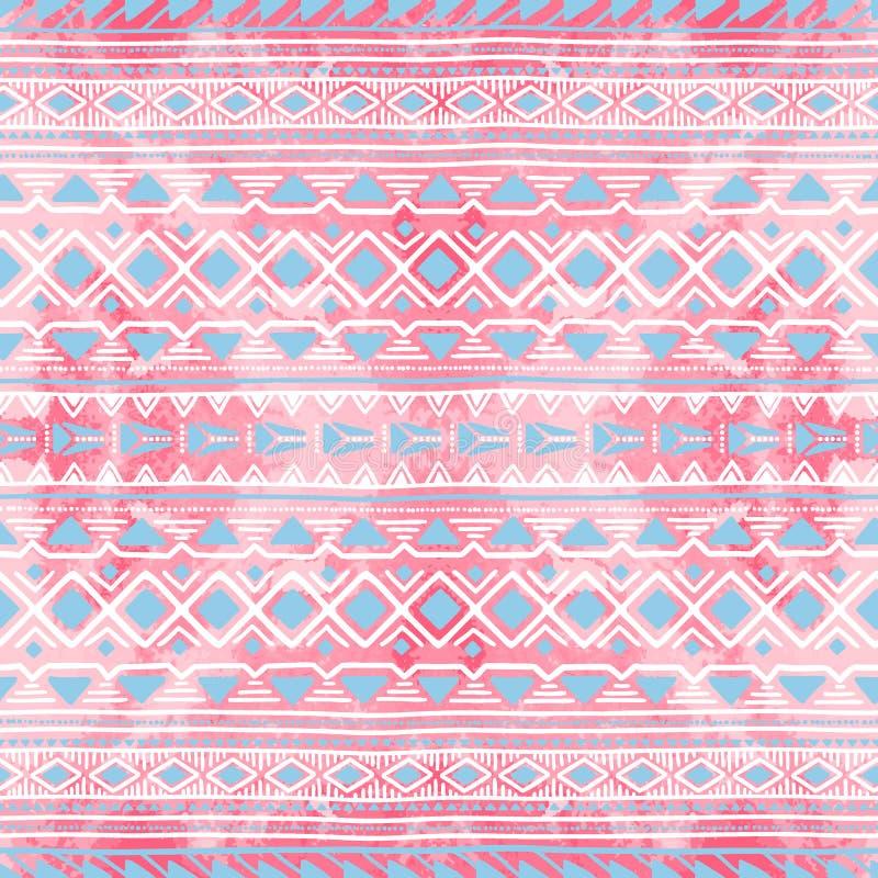 无缝种族的装饰品 水彩纹理 白色、桃红色和bl 向量例证