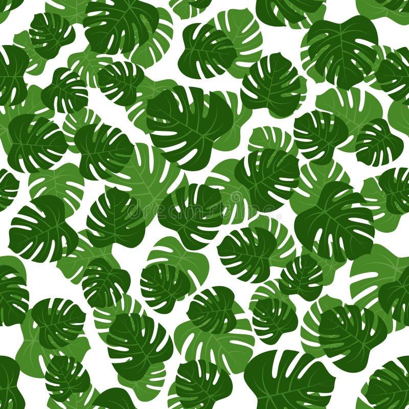 无缝绿色monstera叶子 皇族释放例证