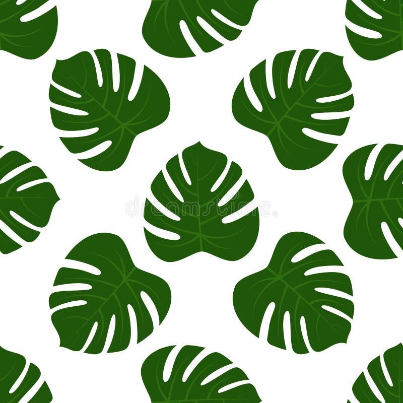 无缝绿色monstera叶子 库存例证