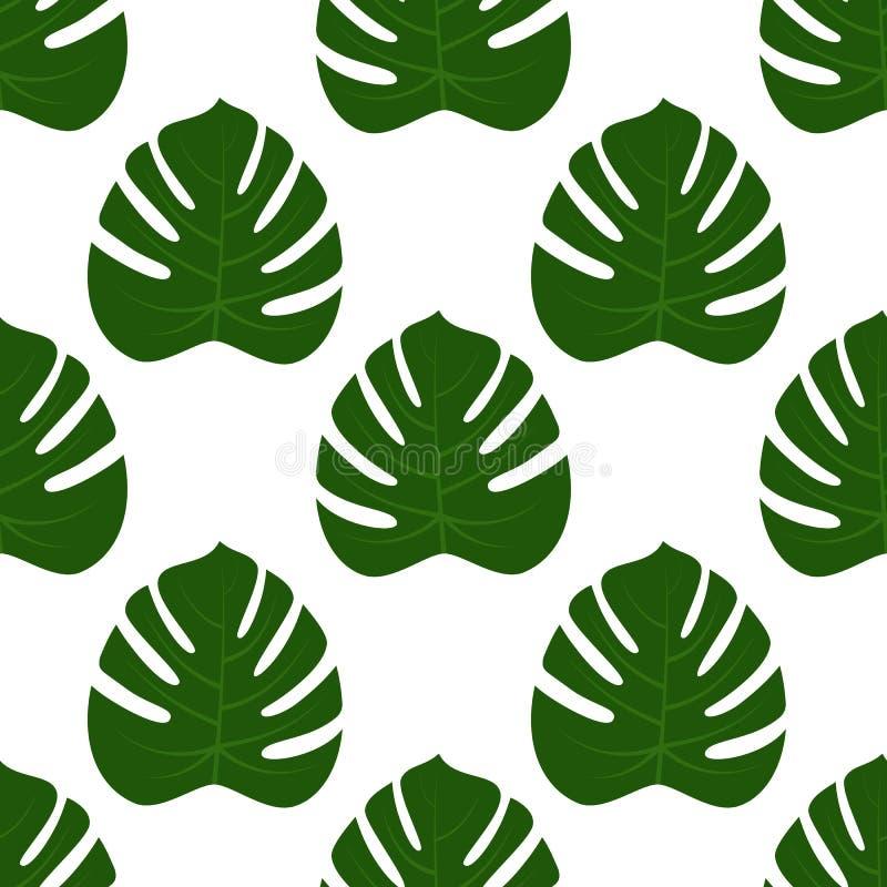 无缝绿色monstera叶子 向量例证