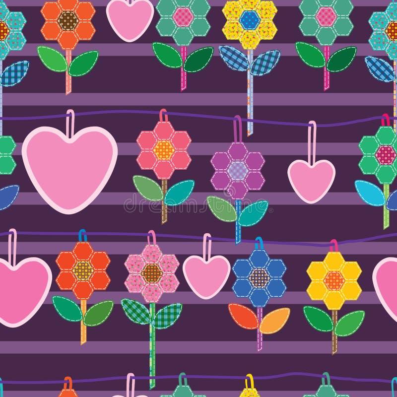无缝缝合的六角形花爱的吊 向量例证