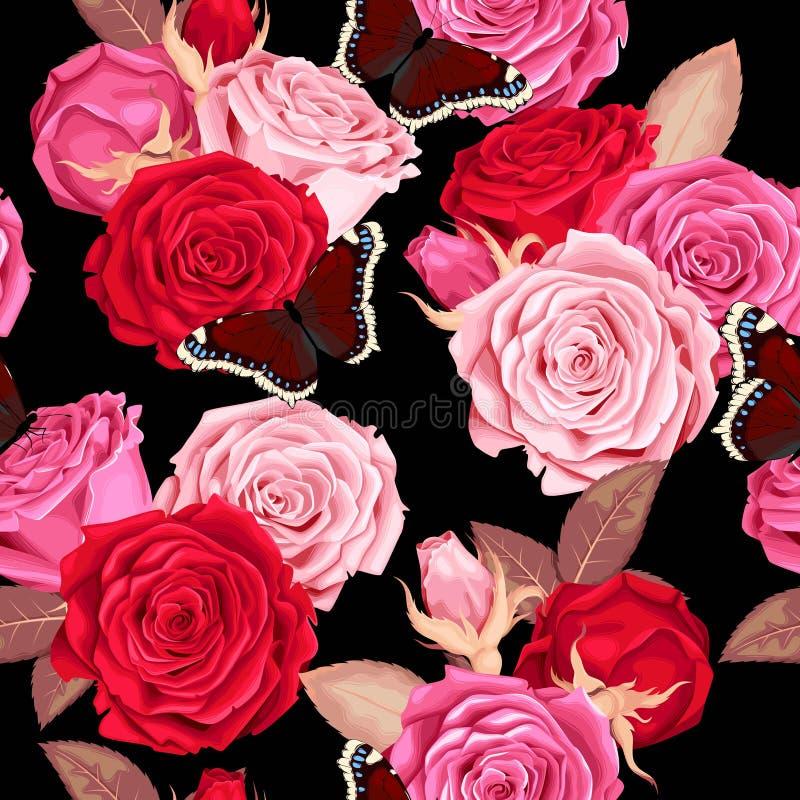 无缝美丽的玫瑰 向量例证
