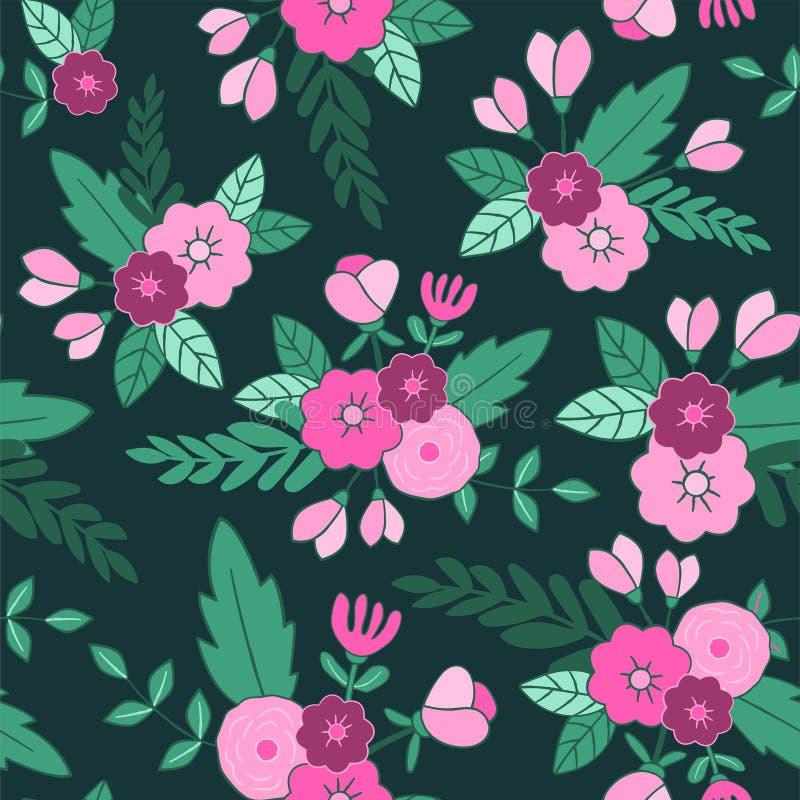 无缝美好的花卉的模式 为纺织品,包裹,网和所有装饰项目完善 库存例证
