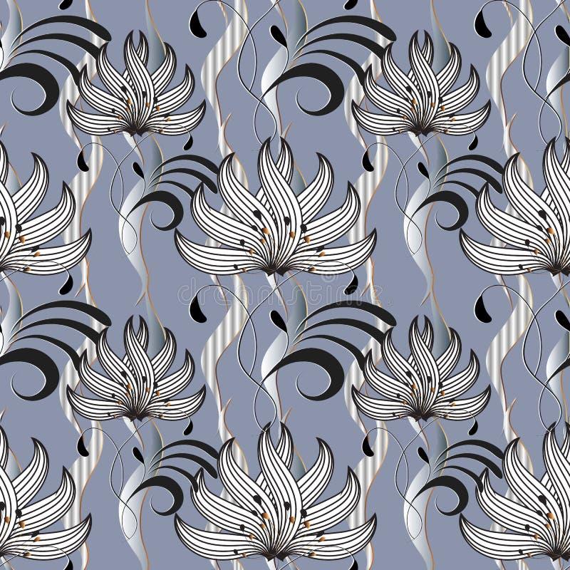 无缝美好的花卉的模式 抽象华丽光vecto 皇族释放例证