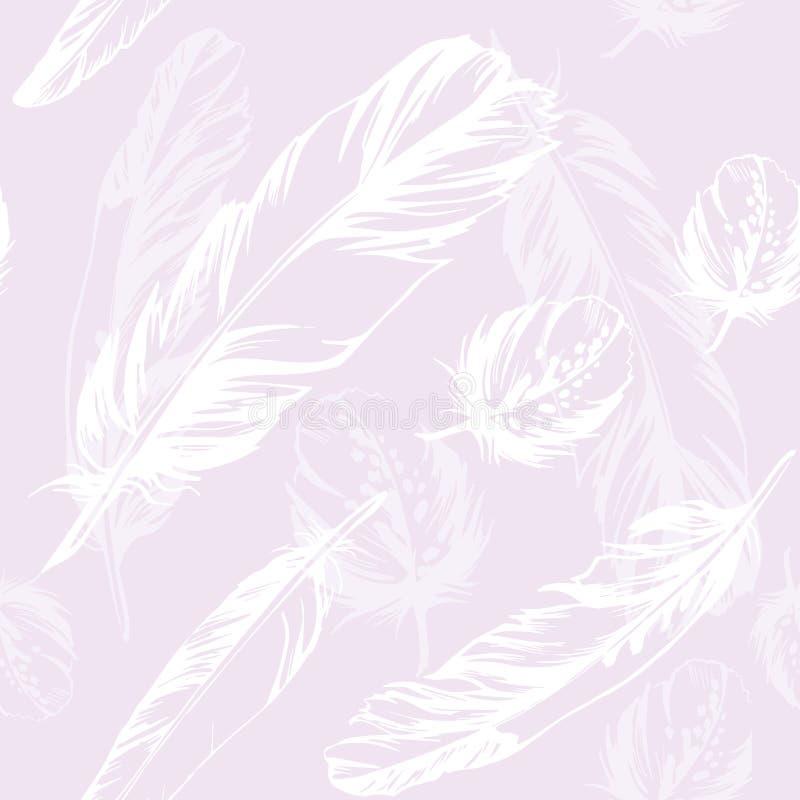 无缝羽毛的模式 传染媒介紫色例证 向量例证