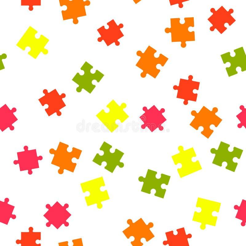 无缝背景五颜六色的模式的难题 在空白背景查出的向量例证 向量例证