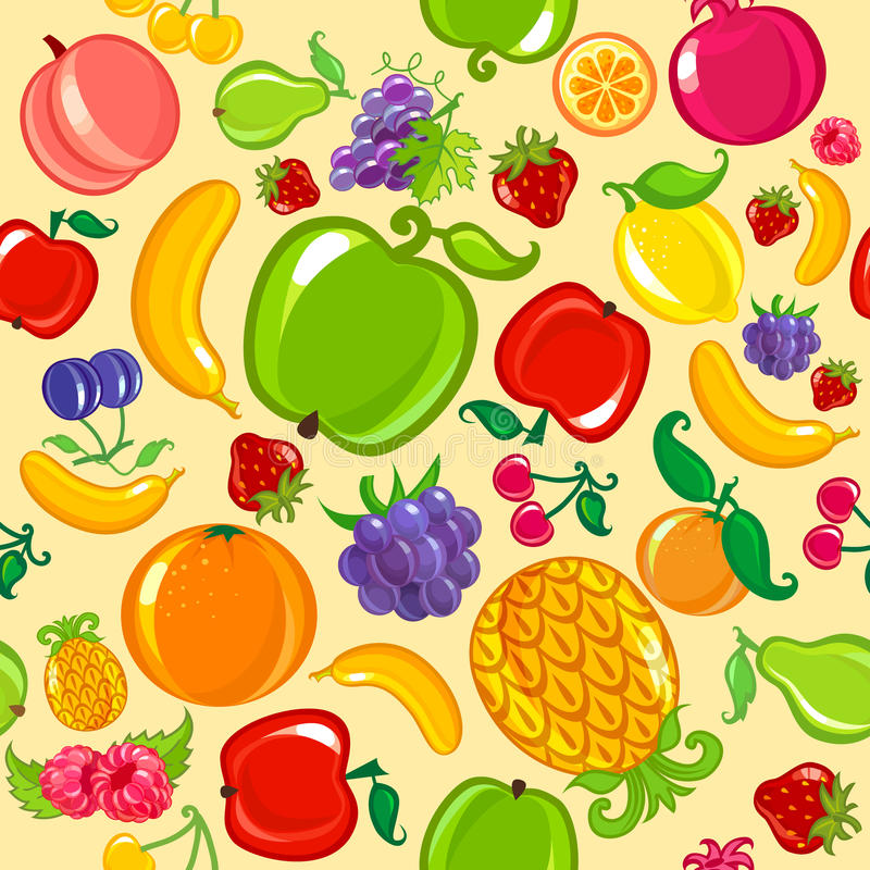无缝背景的果子 库存例证