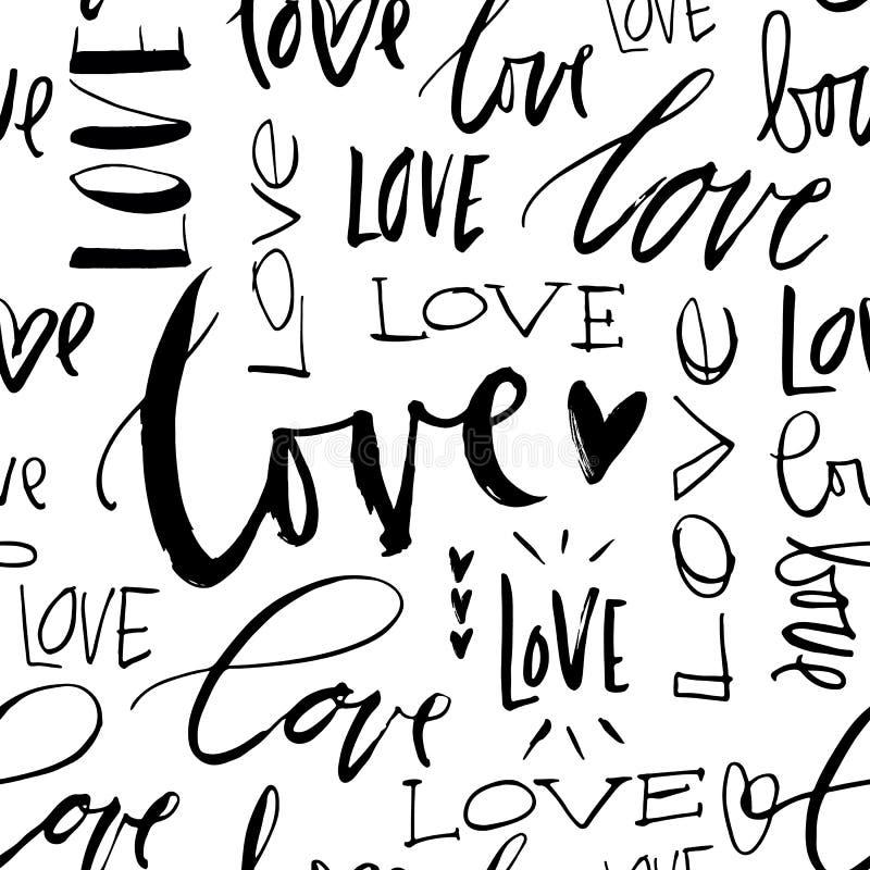 无缝背景的爱 现代刷子书法 向量例证