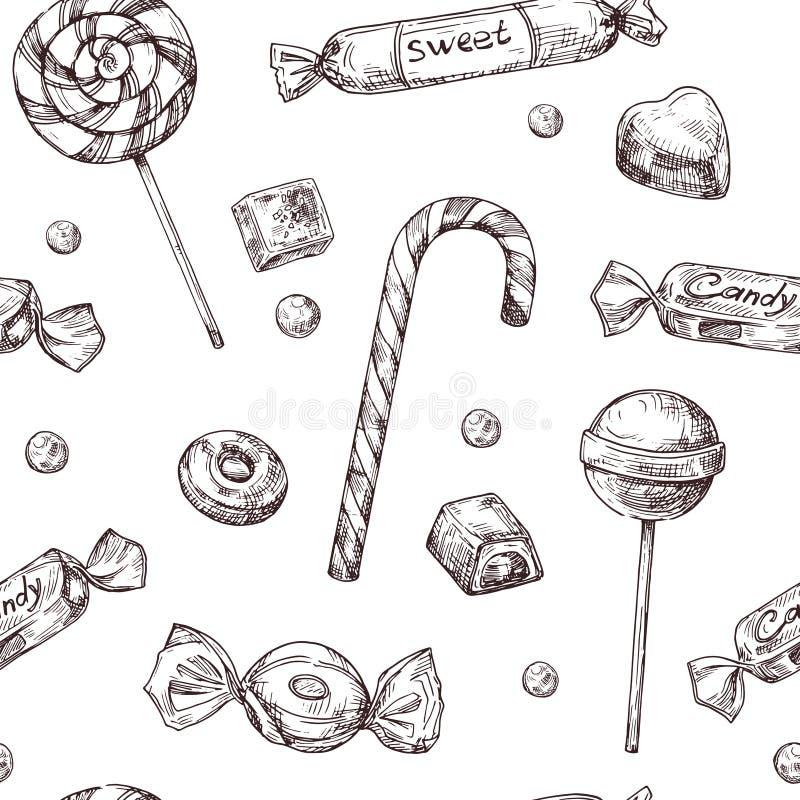 无缝背景的糖果 剪影巧克力糖、棒棒糖和橘子果酱甜点,手拉的传染媒介封皮texrure 皇族释放例证