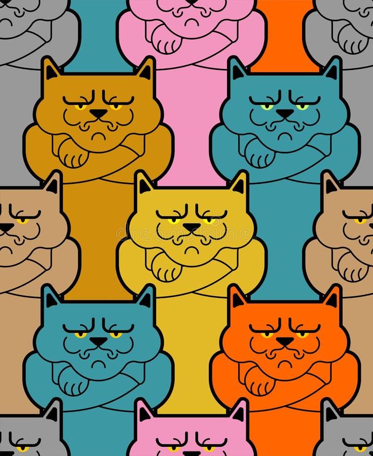 无缝脾气坏的猫的样式 恼怒的宠物背景 传染媒介Illust 向量例证
