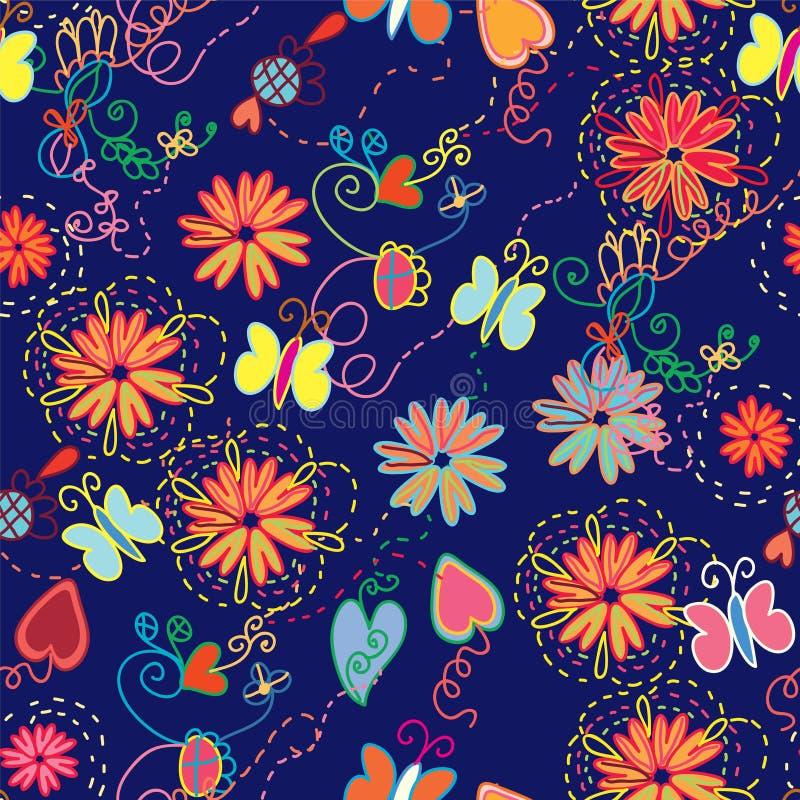 无缝花卉华丽的模式 向量例证