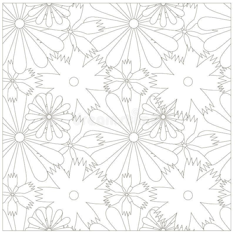 无缝花卉单色的模式 向量例证