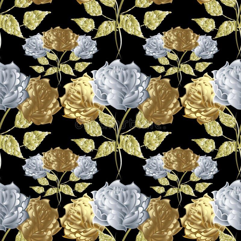 无缝花卉模式的玫瑰 背景开花向量 皇族释放例证