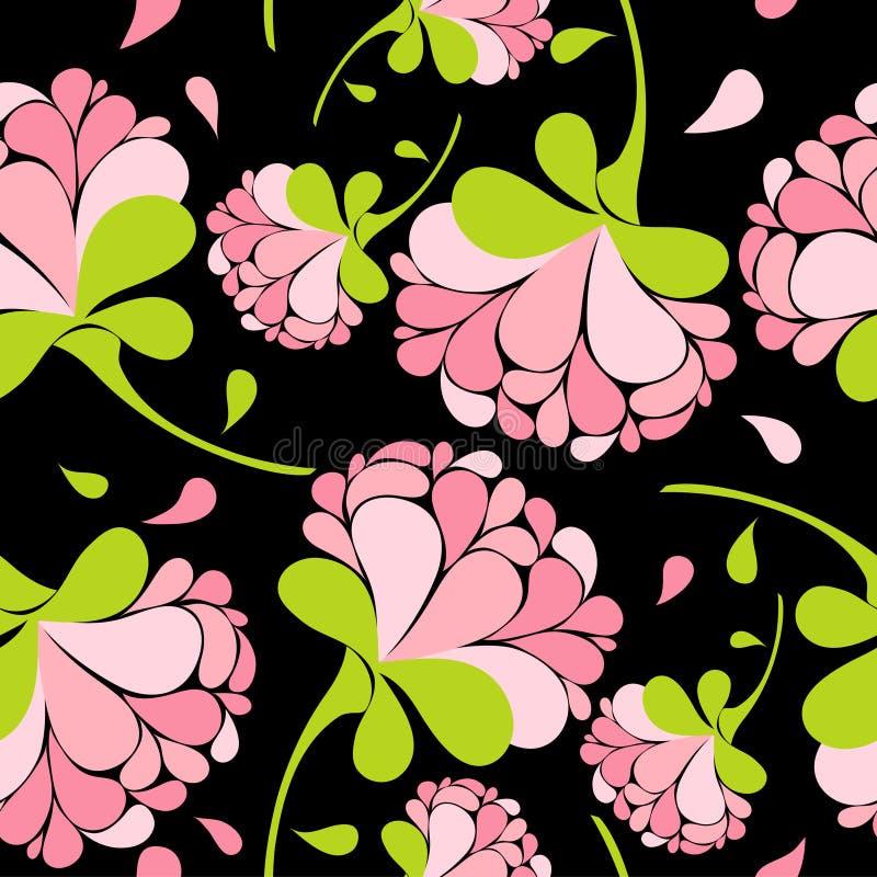 无缝花卉模式的粉红色 皇族释放例证